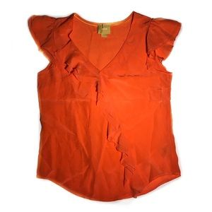 Anthropologie Maeve coral ruffle top